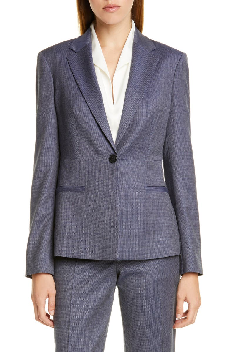 BOSS Jaliana Blurred Minidessin Wool Jacket, Main, color, KLEIN BLUE FANTASY