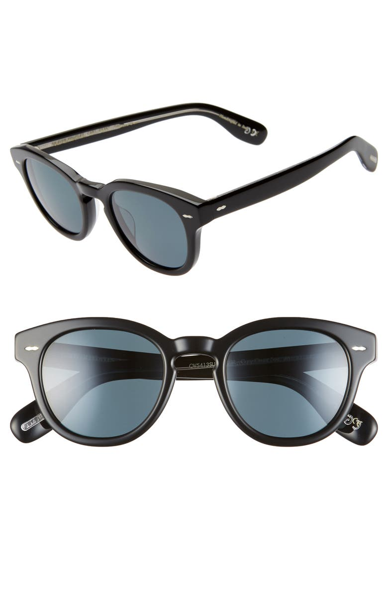 OLIVER PEOPLES 48mm Round Sunglasses, Main, color, BLACK