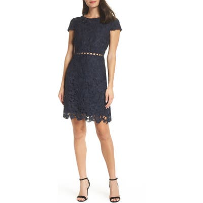 Sam Edelman Cap Sleeve Lace Sheath Dress, Blue