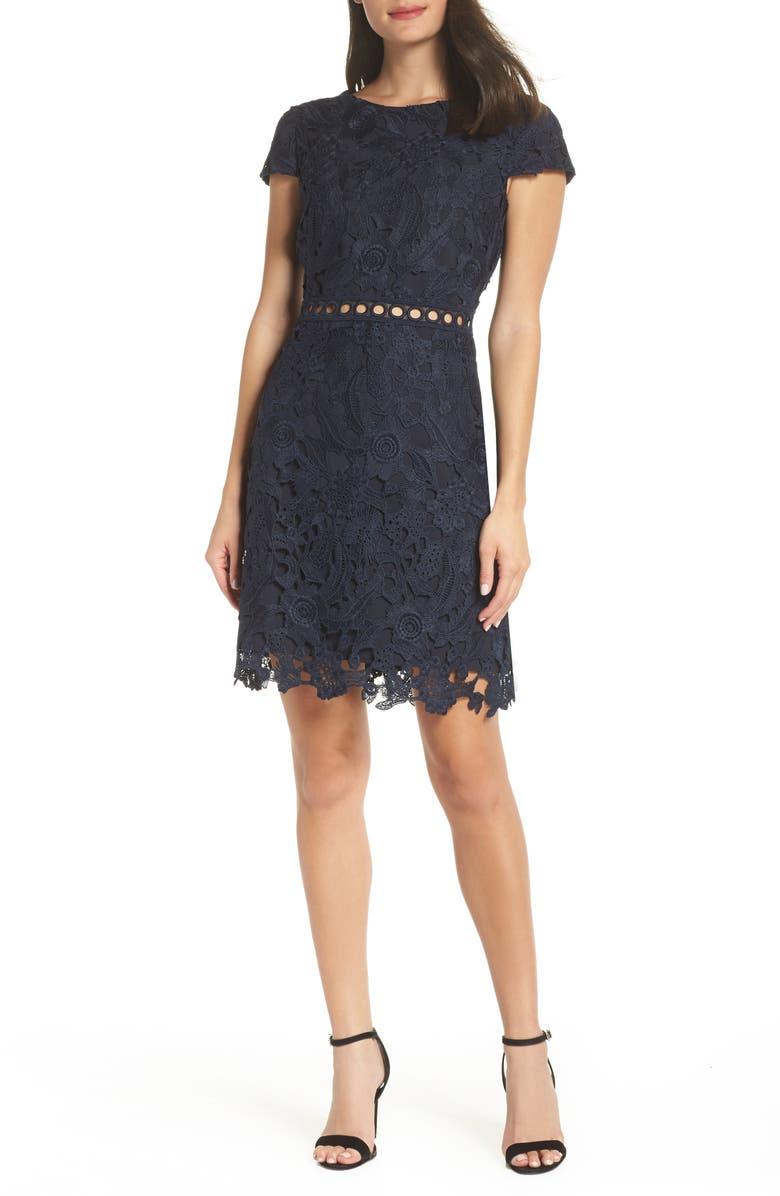 SAM EDELMAN Cap Sleeve Lace Sheath Dress, Main, color, NAVY