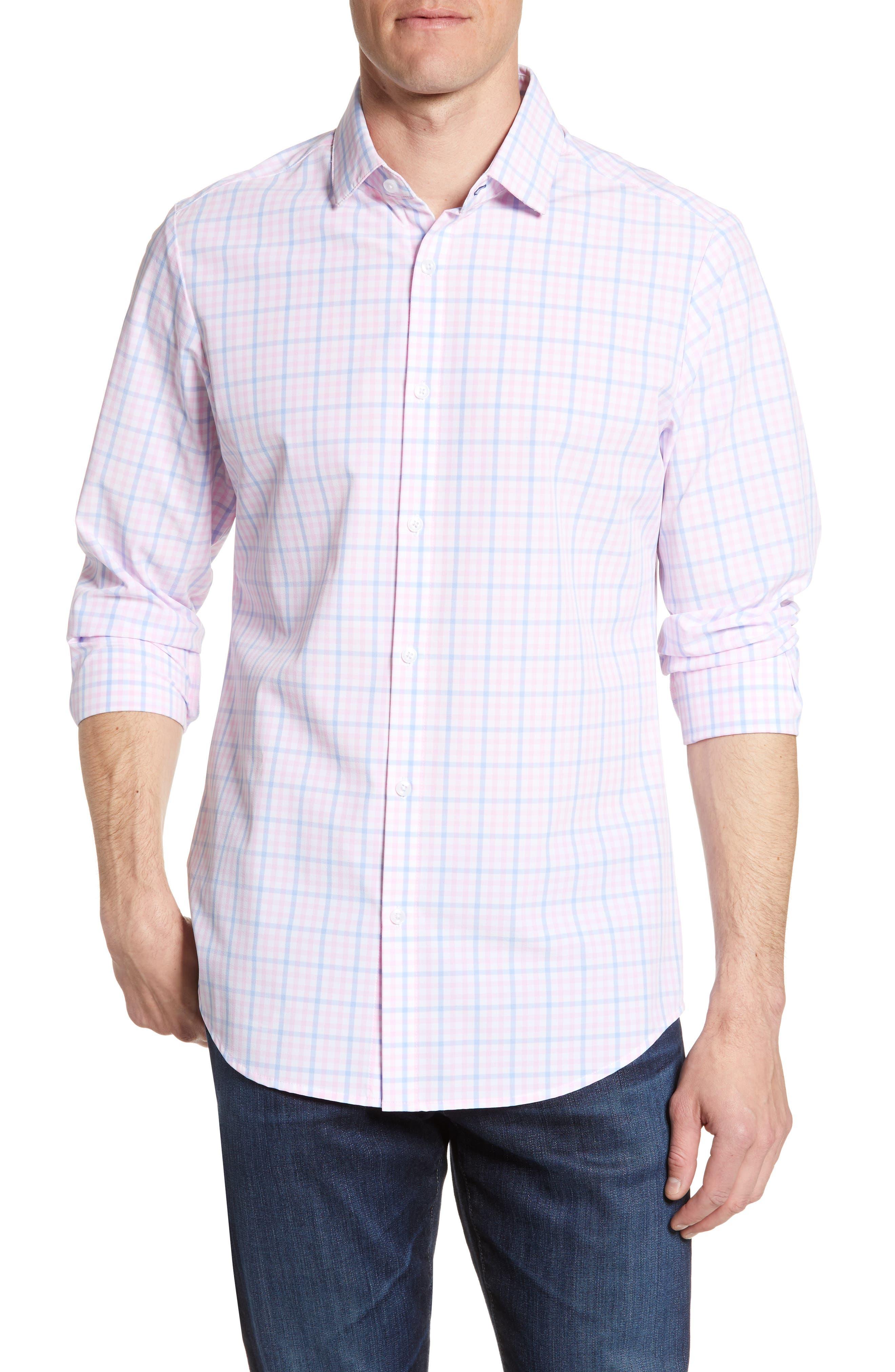 Mizzen+Main Chapman Regular Fit Check Performance Sport Shirt, Pink