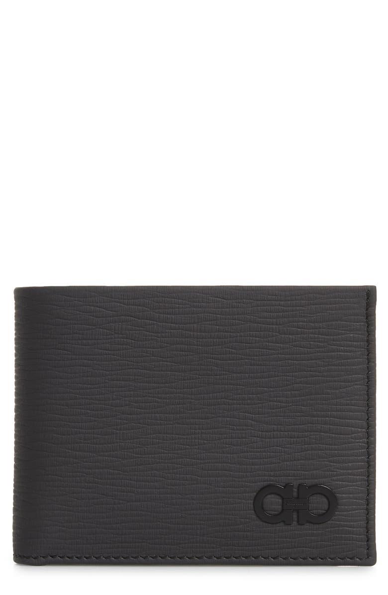 SALVATORE FERRAGAMO Revival Leather Wallet, Main, color, LEAD GREY