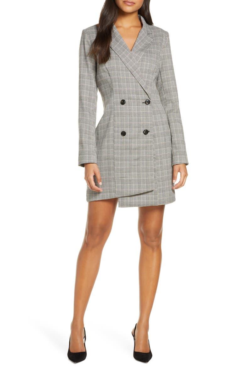 ADELYN RAE Toni Long Sleeve Suit Dress, Main, color, GREY