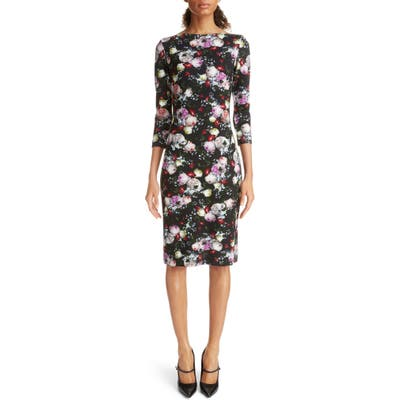 Erdem Floral Print Ponte Knit Sheath Dress, US / 12 UK - Black