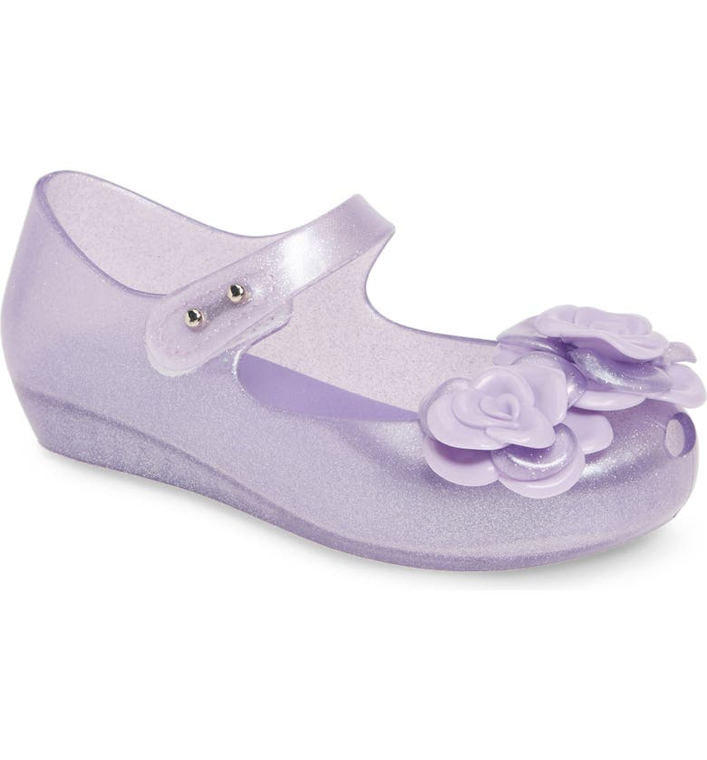 MINI MELISSA Ultra 11 Jelly Mary Jane, Main, color, CLEAR GLITTER LILAC