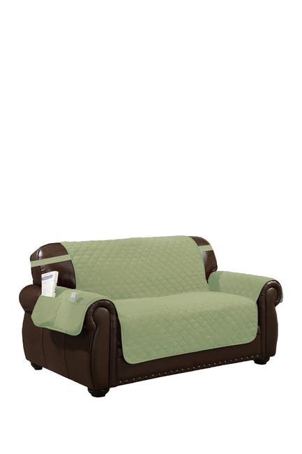 Image of Duck River Textile Sage/Chocolate Jameson Reversible Waterproof Microfiber Loveseat Cover