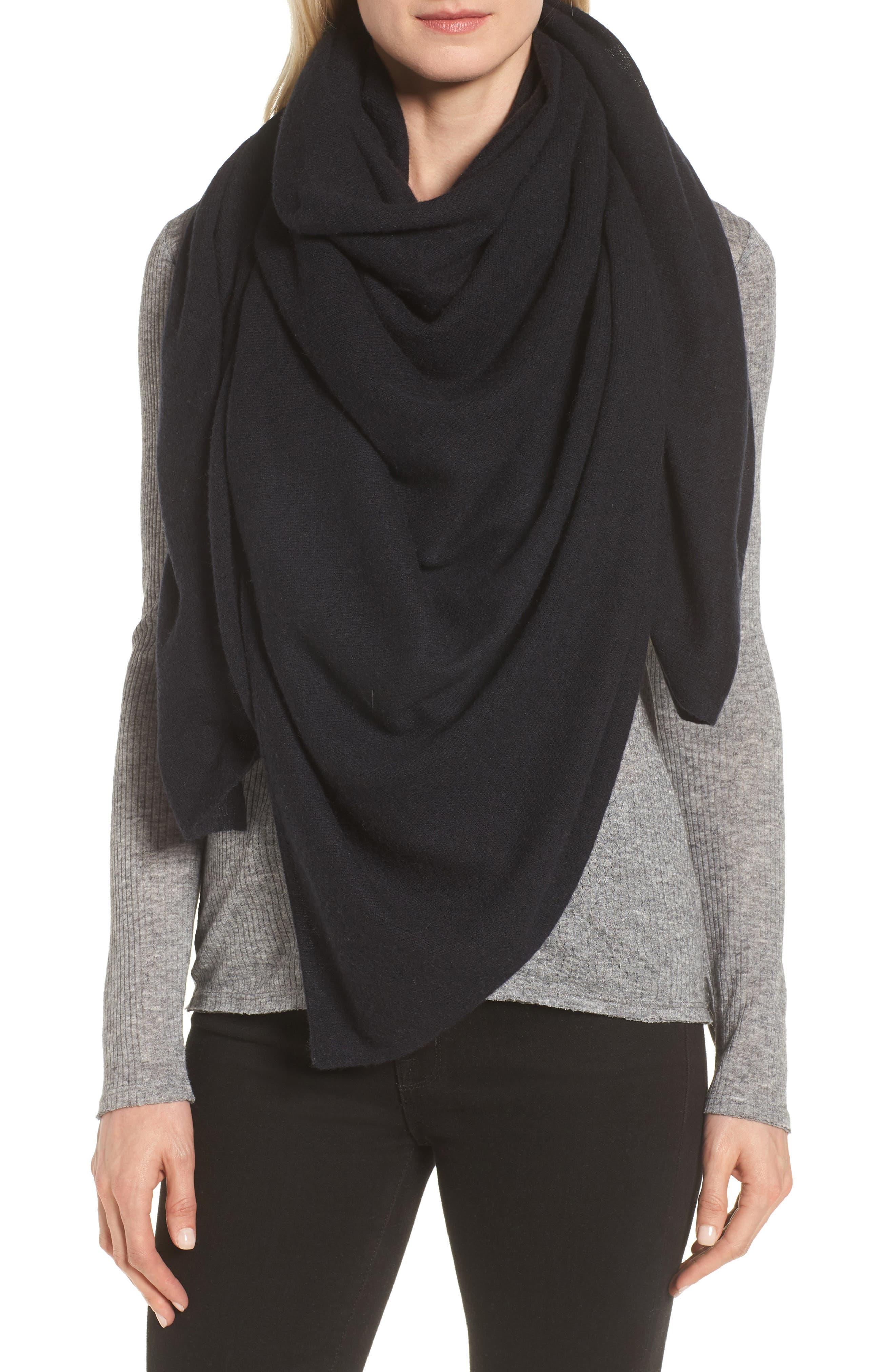 Lightweight Cashmere Scarf, Main, color, BLACK