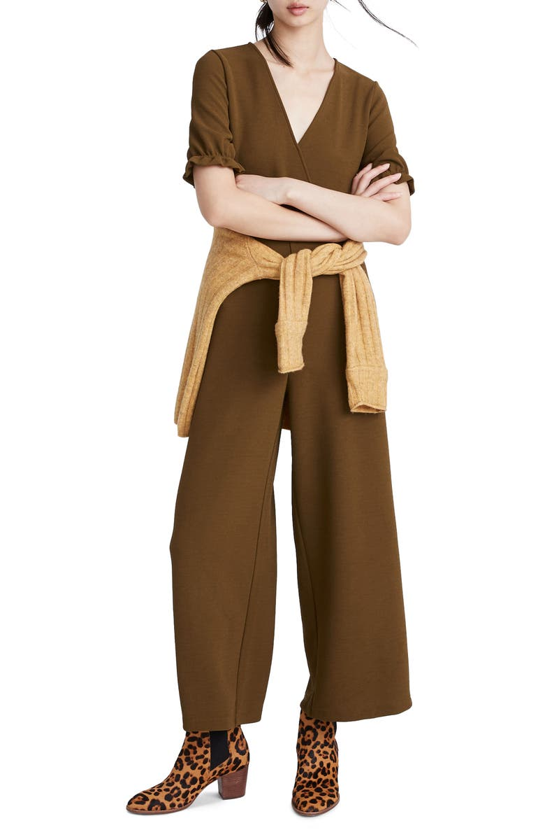 MADEWELL Texture & Thread Crepe Crossover Jumpsuit, Main, color, ASPARAGUS