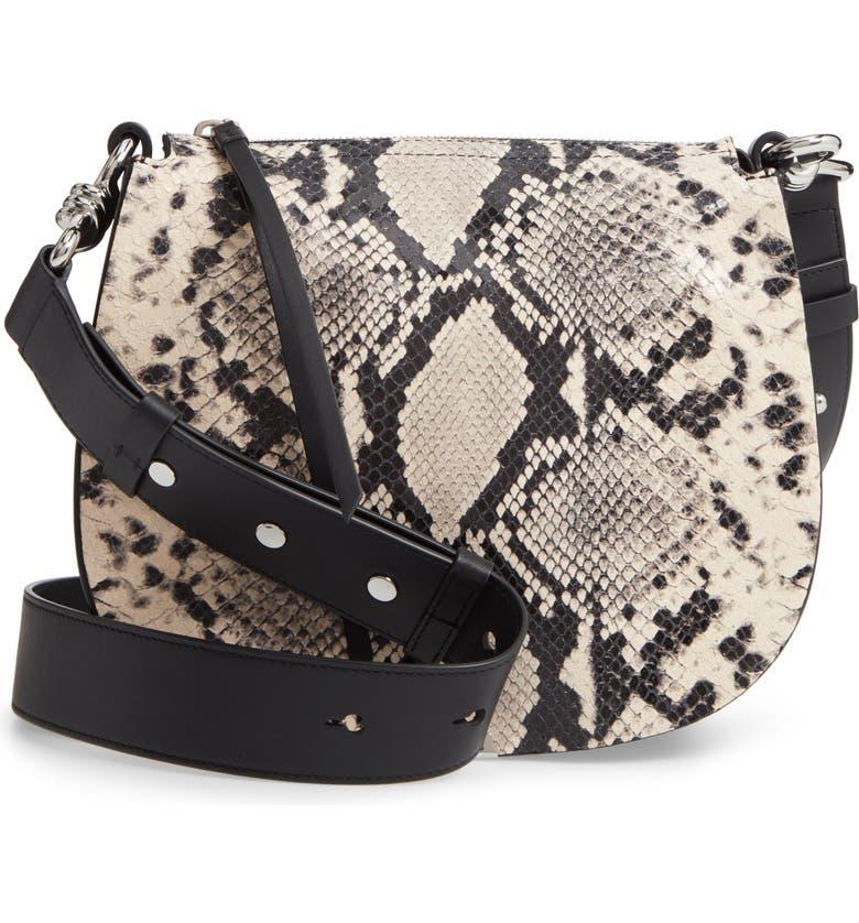 ALLSAINTS Sliver Snake Print Leather Crossbody Bag, Main, color, 255