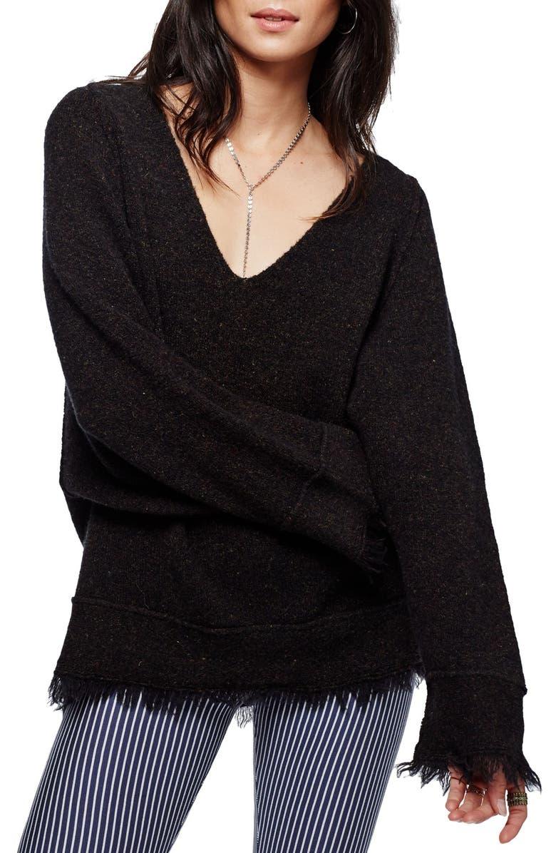 FREE PEOPLE Irresistible Fringe Trim Sweater, Main, color, 001