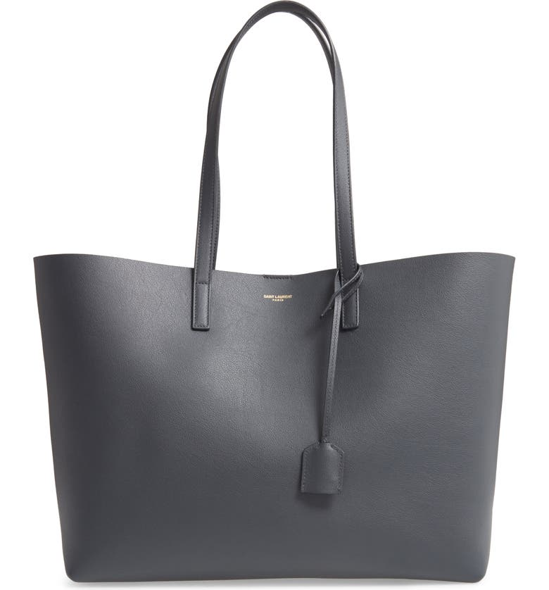 SAINT LAURENT 'Shopping' Leather Tote, Main, color, DARK SMOG