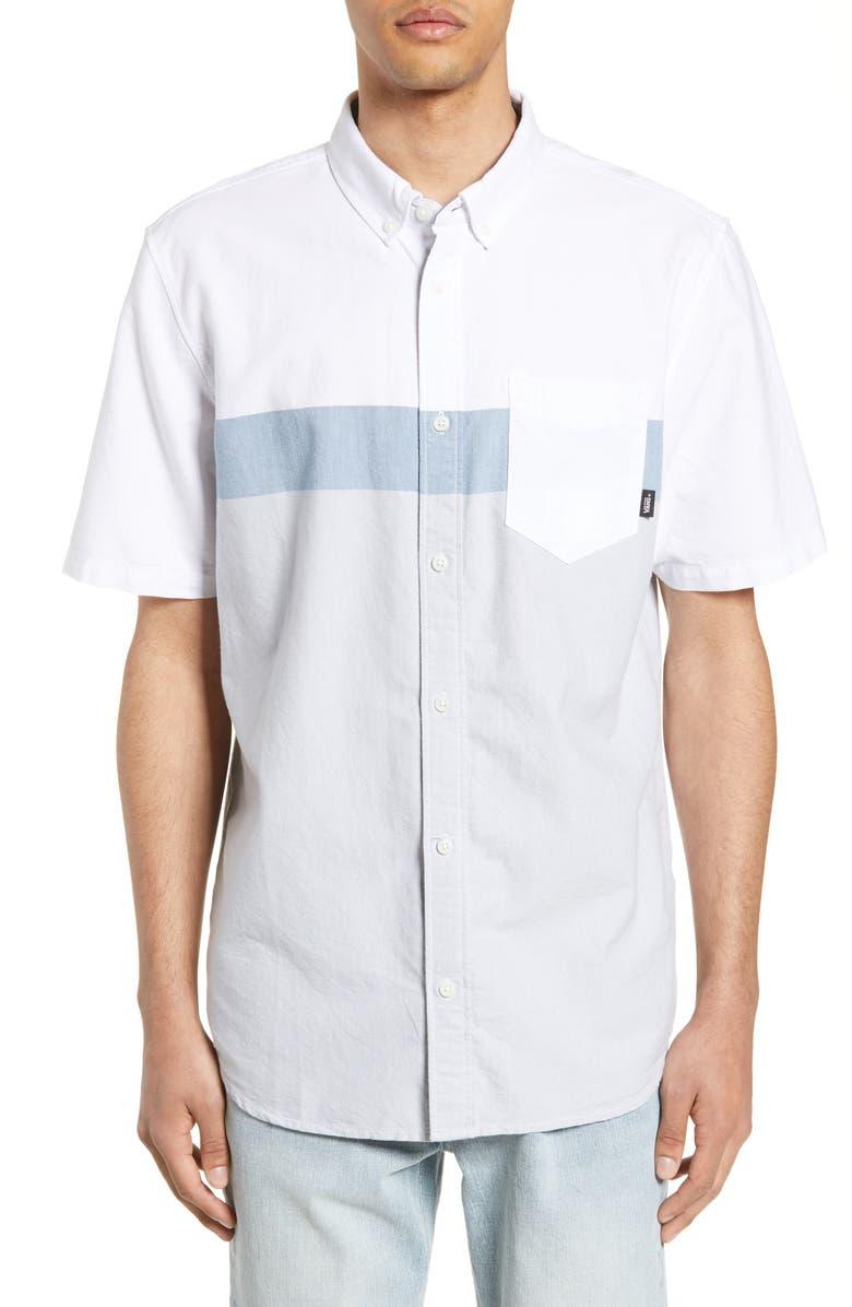 VANS Estancia Colorblock Slim Fit Shirt, Main, color, WHITE/ HIGH RISE