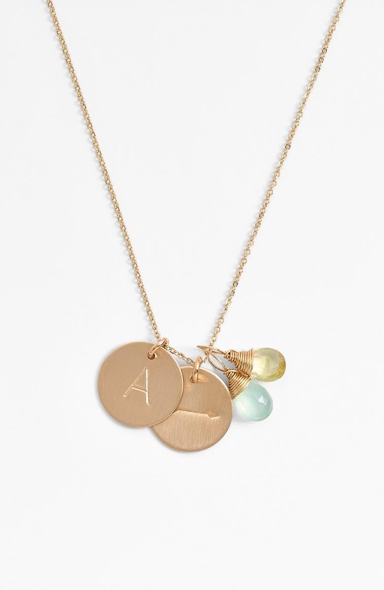 NASHELLE Aqua Chalcedony, Lemon Quartz, Initial & Arrow 14k-Gold Fill Disc Necklace, Main, color, AQUA AND LEMON A