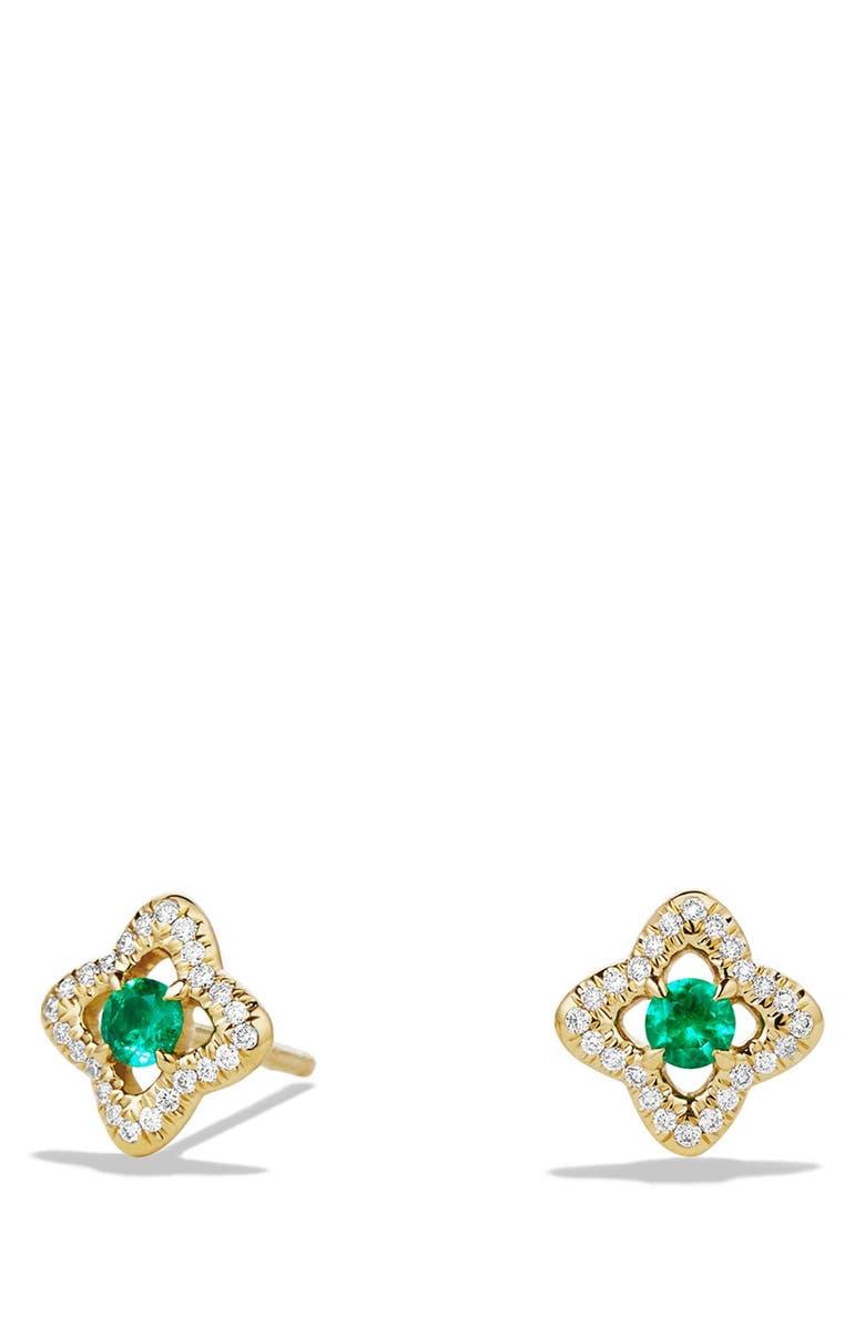 DAVID YURMAN 'Venetian Quatrefoil' Earrings with Precious Stones and Diamonds in 18K Gold, Main, color, EMERALD