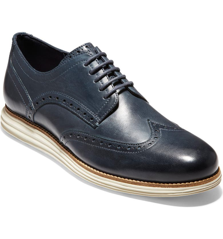 COLE HAAN Original Grand Wingtip, Main, color, NAVY/ IVORY LEATHER