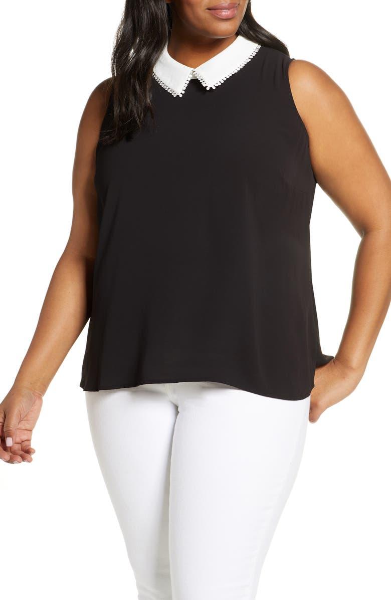 CECE Collared Sleeveless Top, Main, color, RICH BLACK