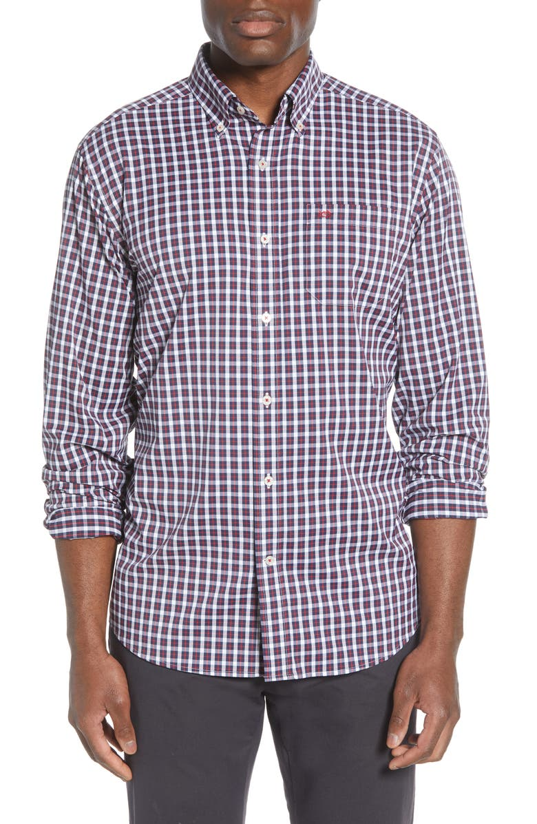 SOUTHERN TIDE Ship Rig Regular Fit Button-Down Performance Shirt, Main, color, CHILI PEPPER