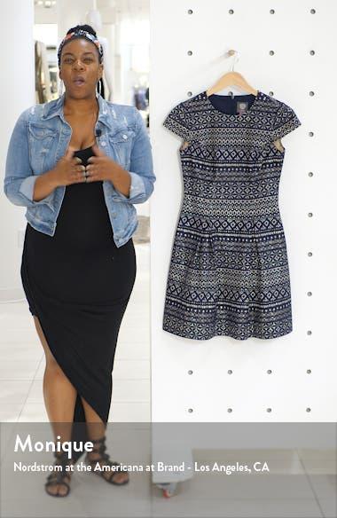 Bonded Lace Fit & Flare Cotton Blend Dress, sales video thumbnail