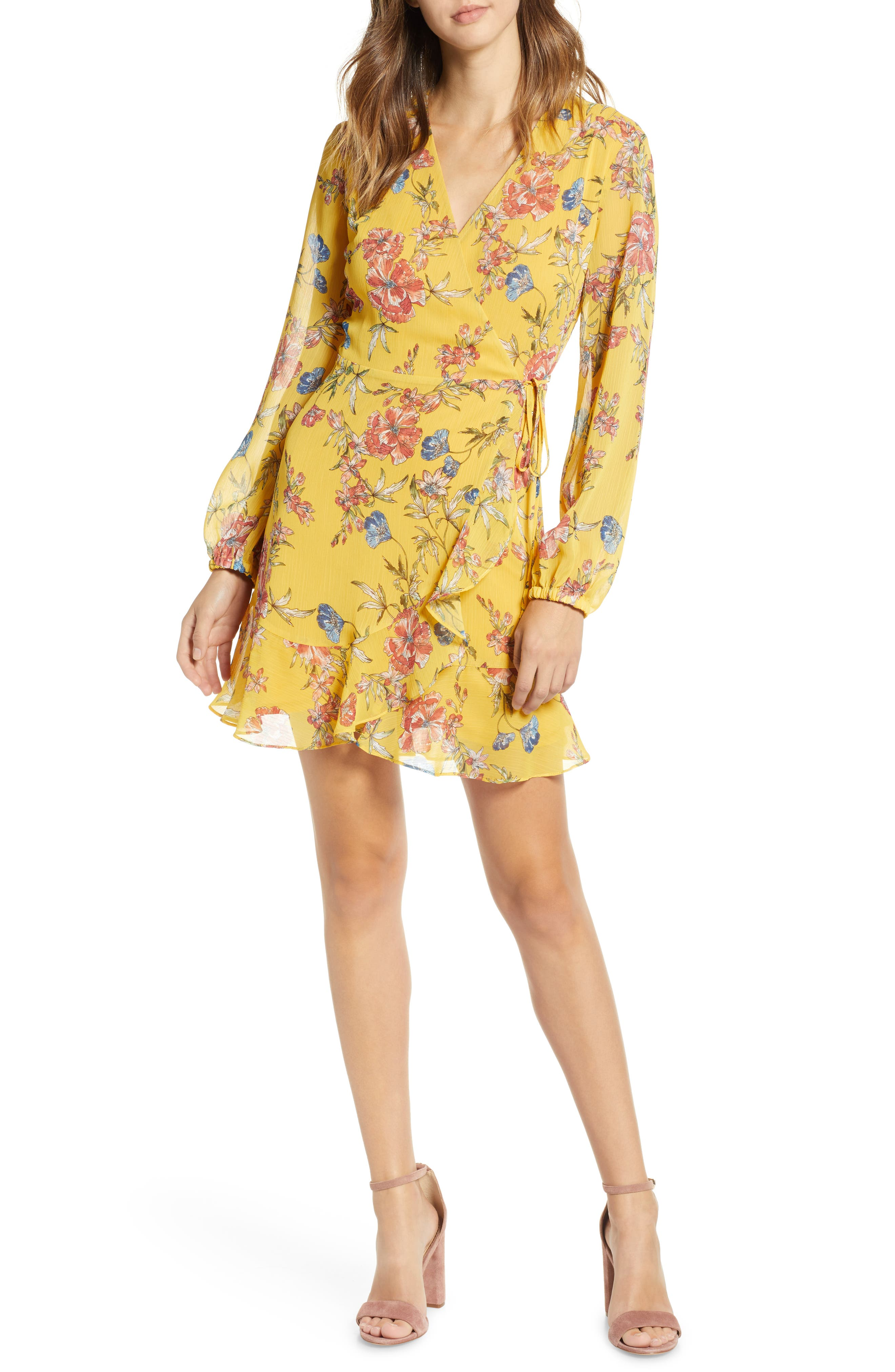 ,                             Brittany Wrap Minidress,                             Main thumbnail 62, color,                             705