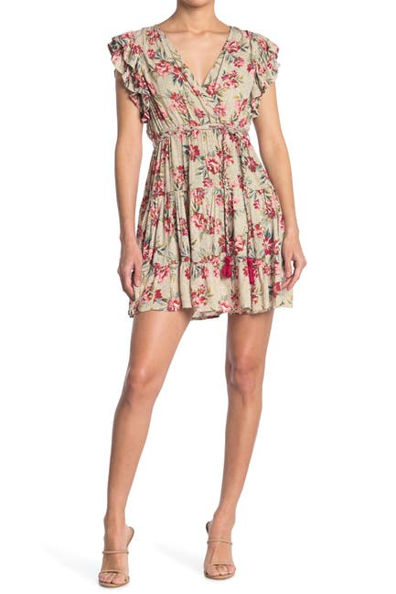 Image of Angie Floral Print Cap Sleeve Dress