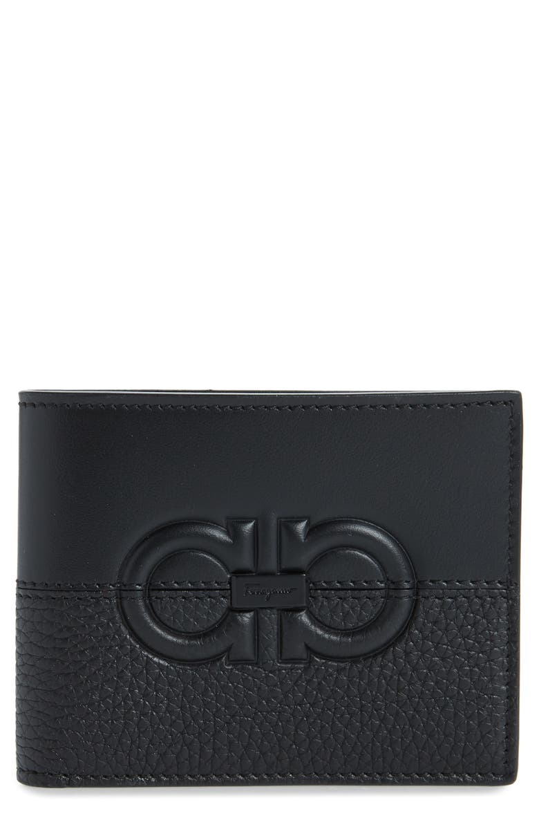 SALVATORE FERRAGAMO Firenze Debossed Leather Wallet, Main, color, BLACK / BLACK