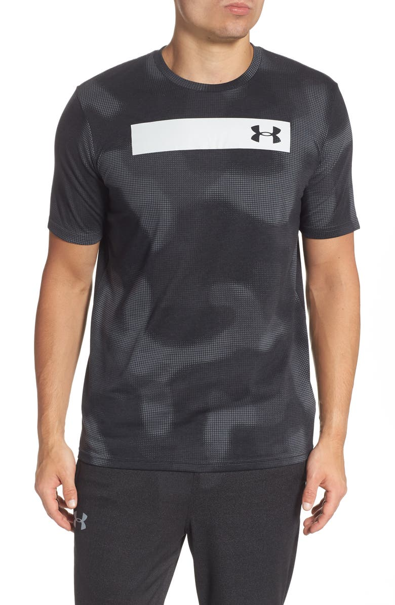 UNDER ARMOUR Printed Bar Performance T-Shirt, Main, color, PITCH GREY/ BLACK