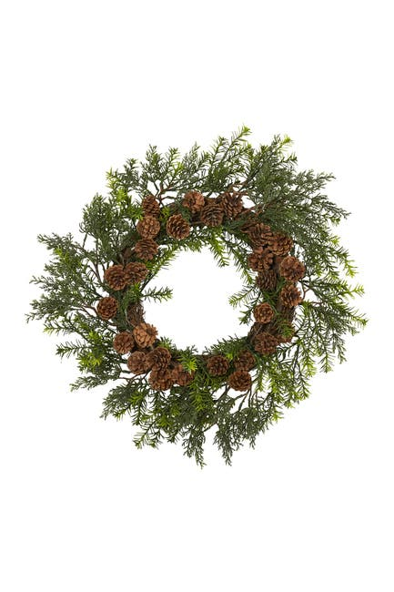 "Image of NEARLY NATURAL 22"" Cedar, Grass, & Pinecone Indoor/Outdoor UV Resistant Artificial Wreath"
