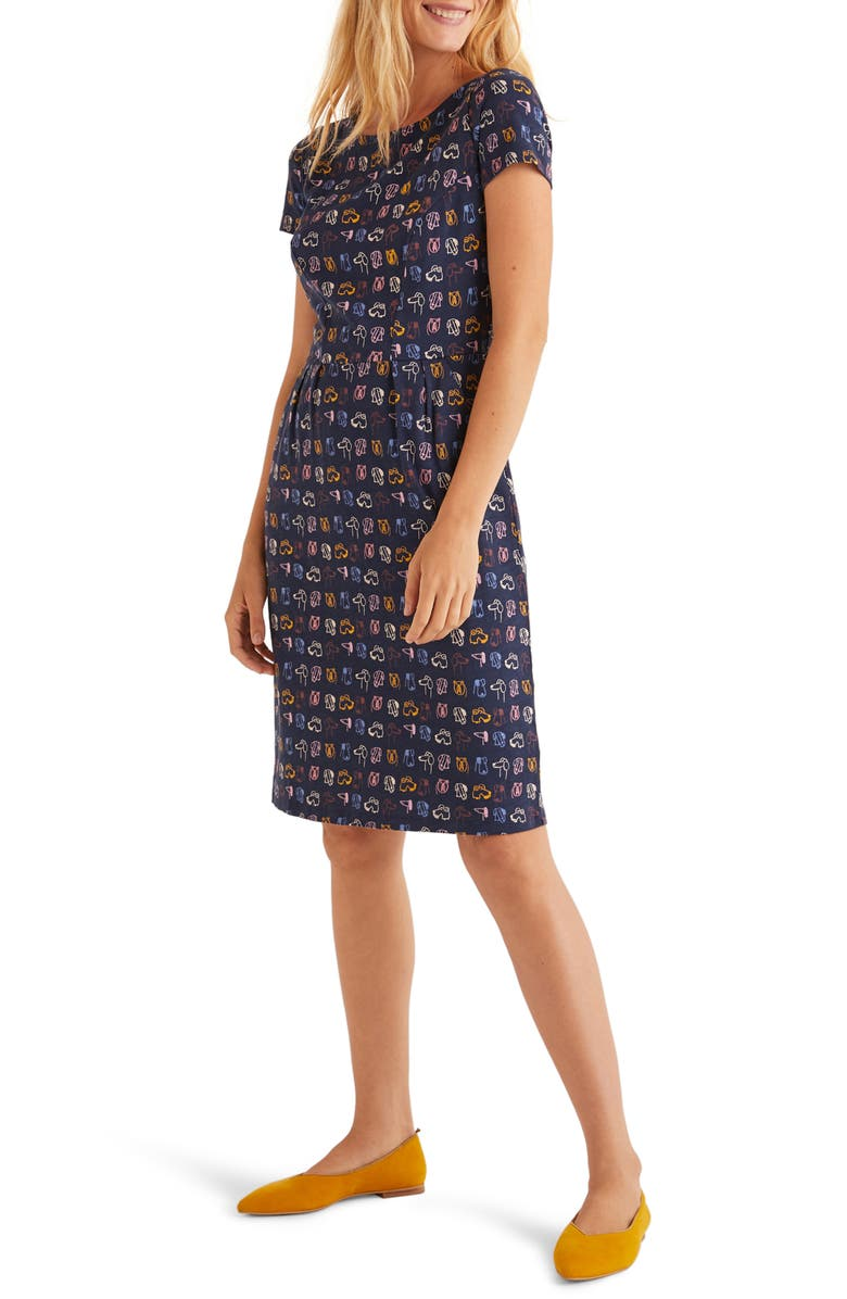 BODEN Phoebe Jersey Sheath Dress, Main, color, FRENCH NAVY/ RUFUS