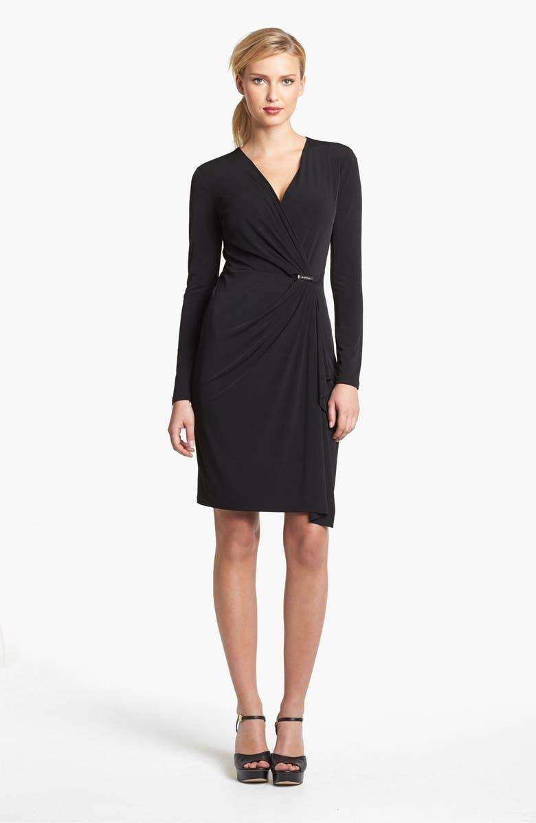 MICHAEL MICHAEL KORS Faux Wrap Dress, Main, color, 001