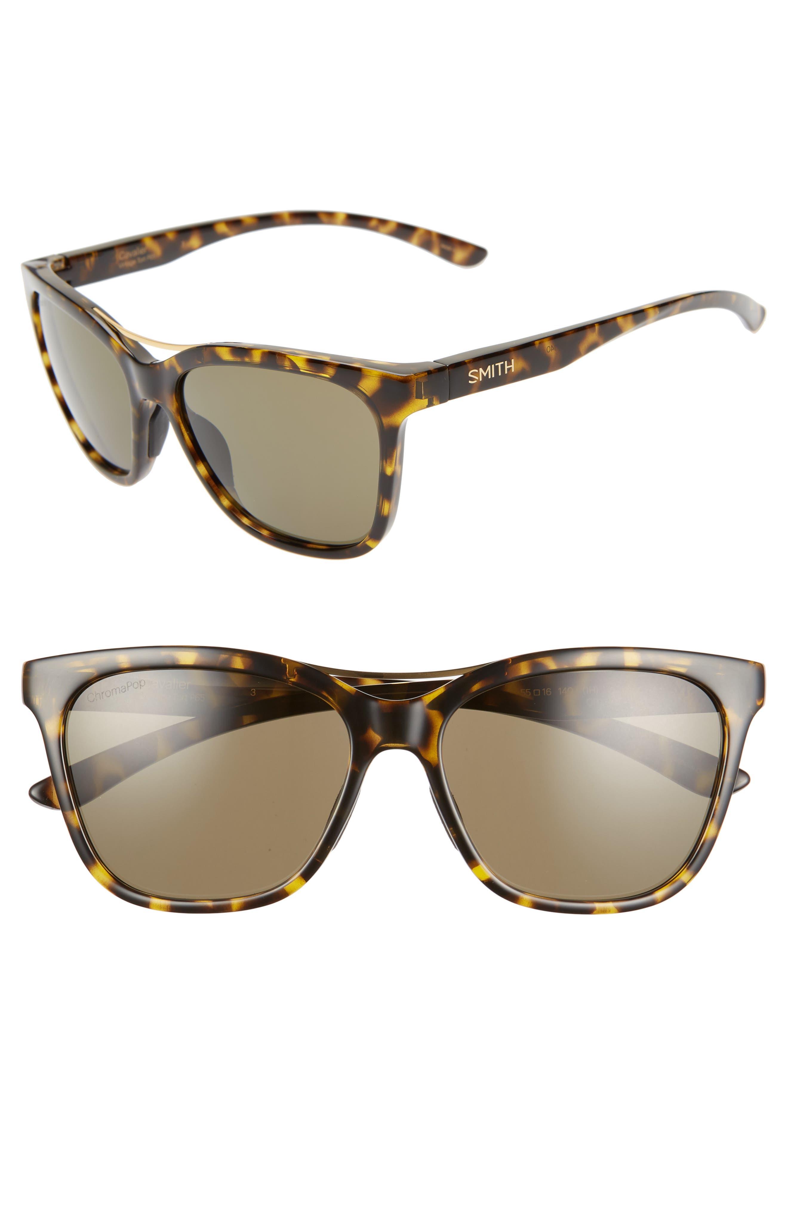 ,                             Cavalier 55mm ChromaPop<sup>™</sup> Polarized Cat Eye Sunglasses,                             Main thumbnail 1, color,                             VINTAGE TORTOISE/ GREEN