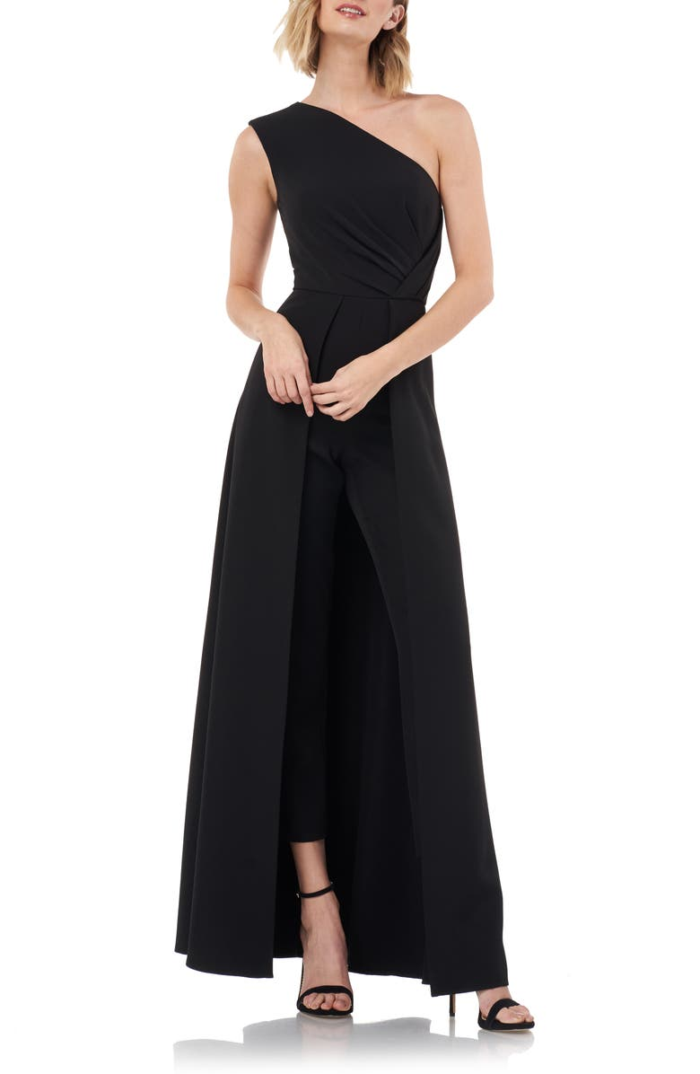 KAY UNGER One-Shoulder Maxi Romper, Main, color, BLACK