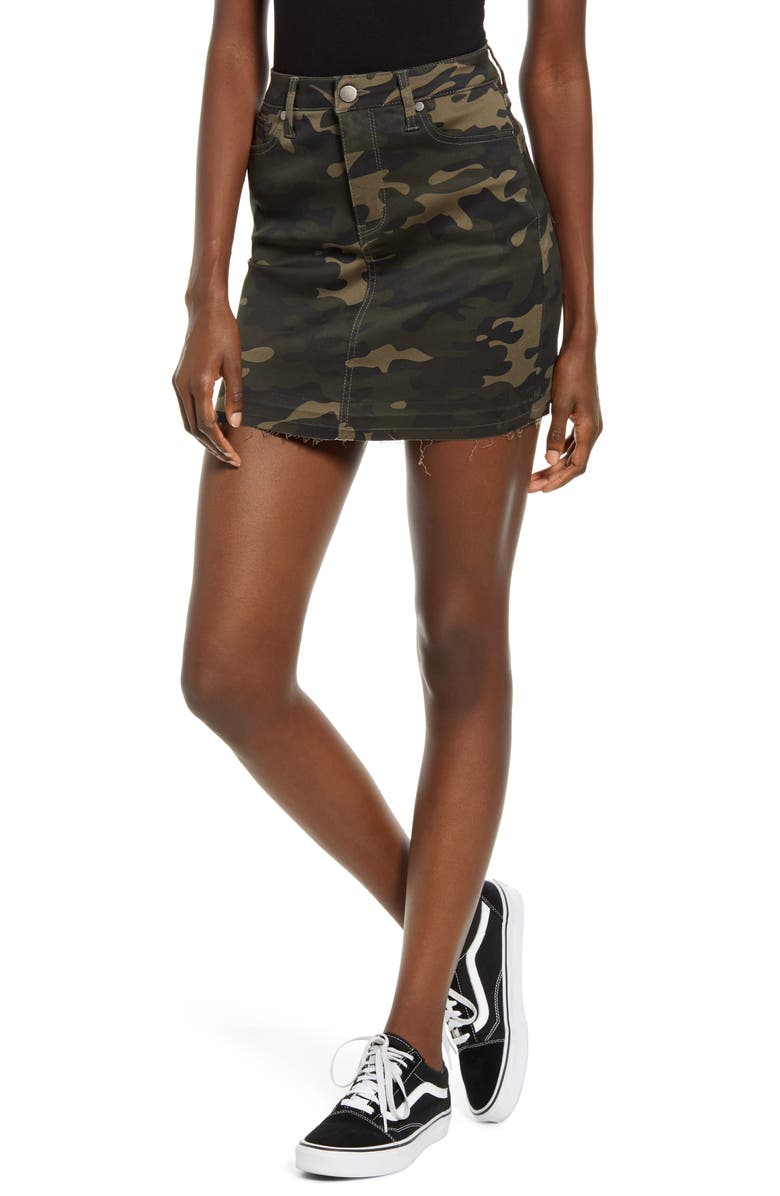 TINSEL Camouflage Denim Miniskirt, Main, color, CAMO