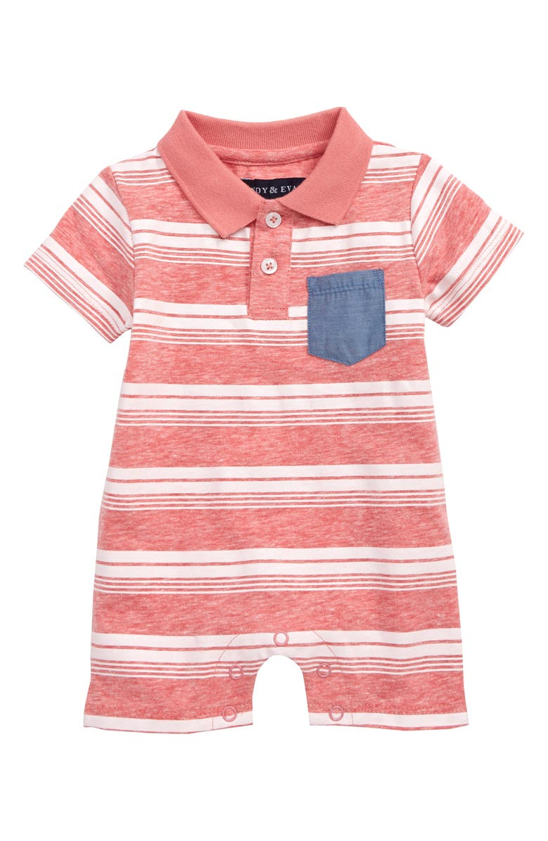 ANDY & EVAN Stripe Polo Romper, Main, color, 630