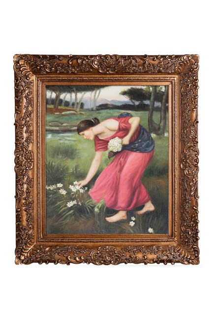 """Image of Overstock Art John William Waterhouse """"Narcissus"""" Framed Hand Painted Oil Canvas Wall Art"""