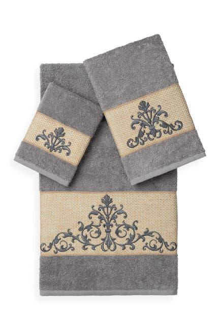 Image of LINUM TOWELS Scarlet 3-Piece Embellished Towel Set - Dark Grey