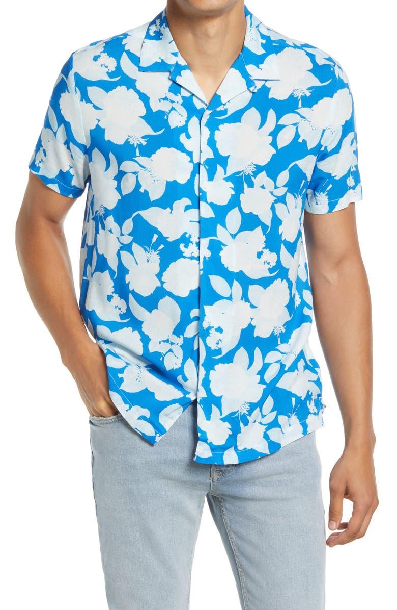 TOPMAN Floral Short Sleeve Button-Up Camp Shirt, Main, color, BLUE