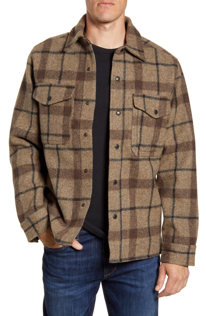 FILSON Mackinaw Plaid Wool Flannel Shirt Jacket, Main, color, TAUPE BROWN BLACK