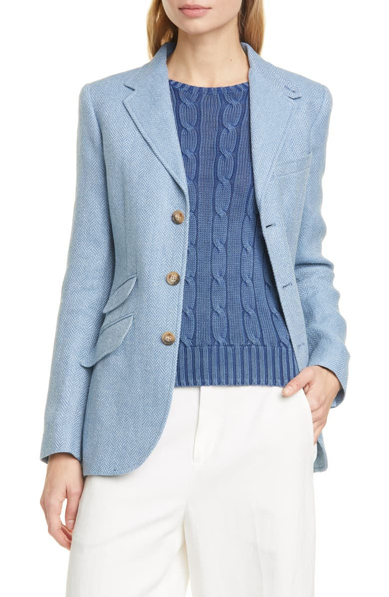 POLO RALPH LAUREN Herringbone Linen & Silk Jacket, Main, color, CHAMBRAY/ IVORY HERRINGBONE