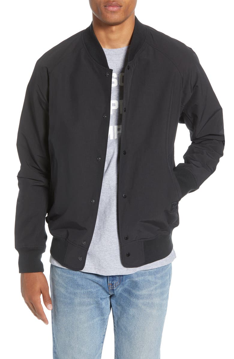 HERSCHEL SUPPLY CO. Varsity Jacket, Main, color, BLACK
