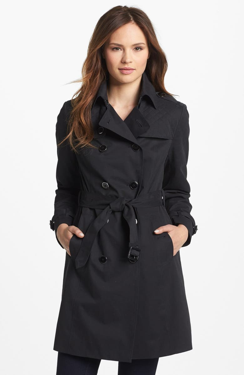 LONDON FOG Quilted Flap Double Breasted Trench Coat, Main, color, 001