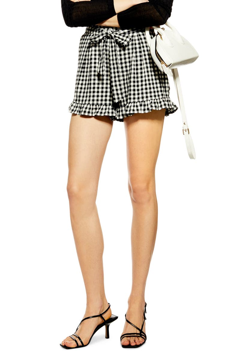 TOPSHOP Tie Front Cotton & Linen Gingham Shorts, Main, color, IVORY MULTI