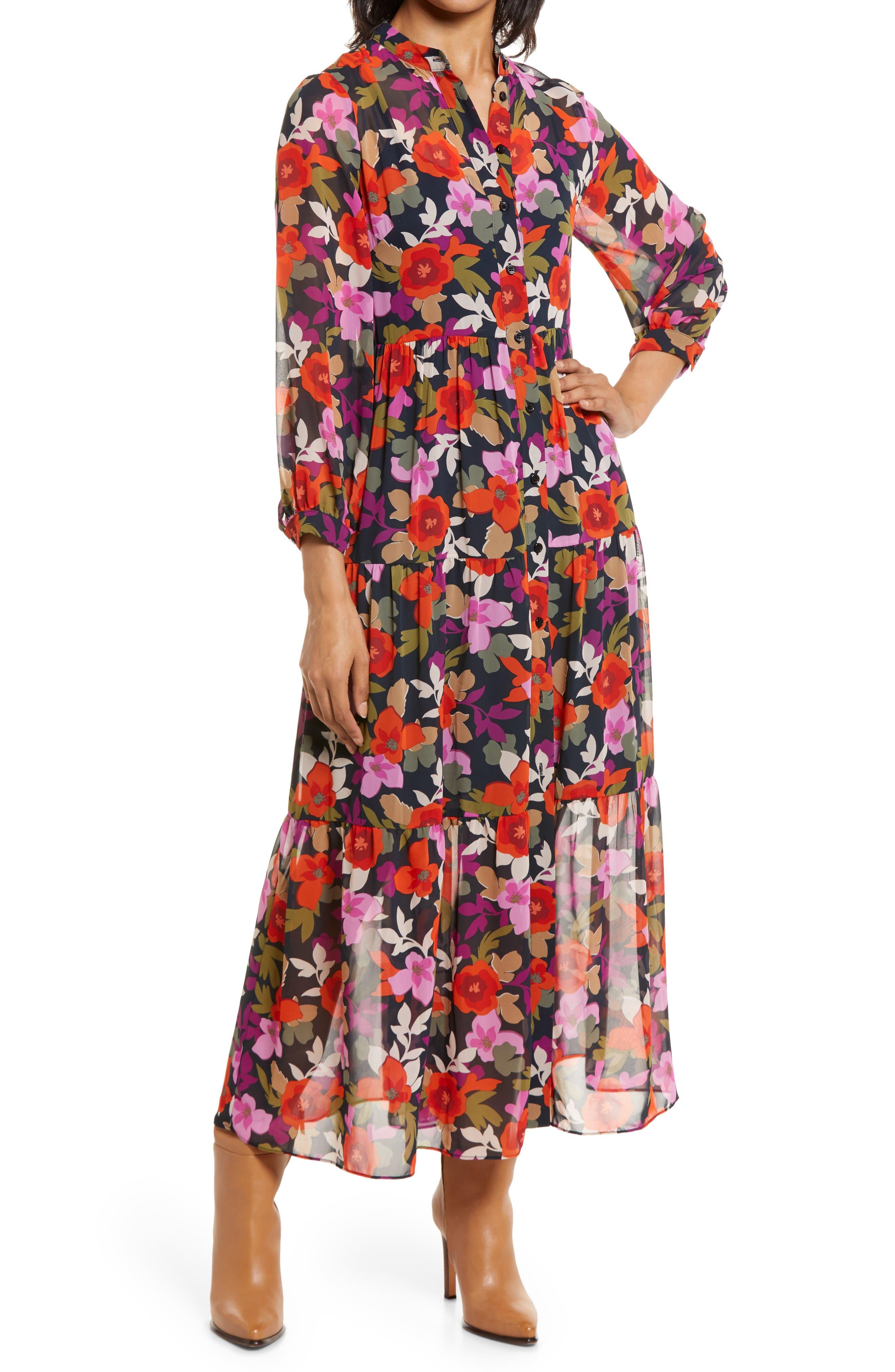 Bold Floral Long Sleeve Maxi Shirtdress
