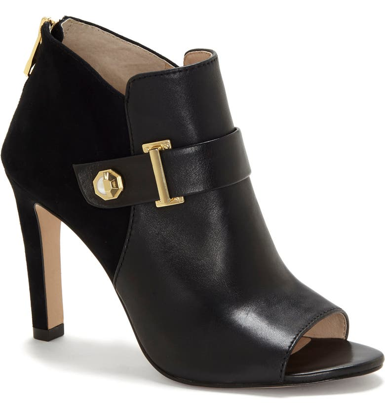 LOUISE ET CIE Lander Open Toe Bootie, Main, color, BLACK LEATHER/ SUEDE
