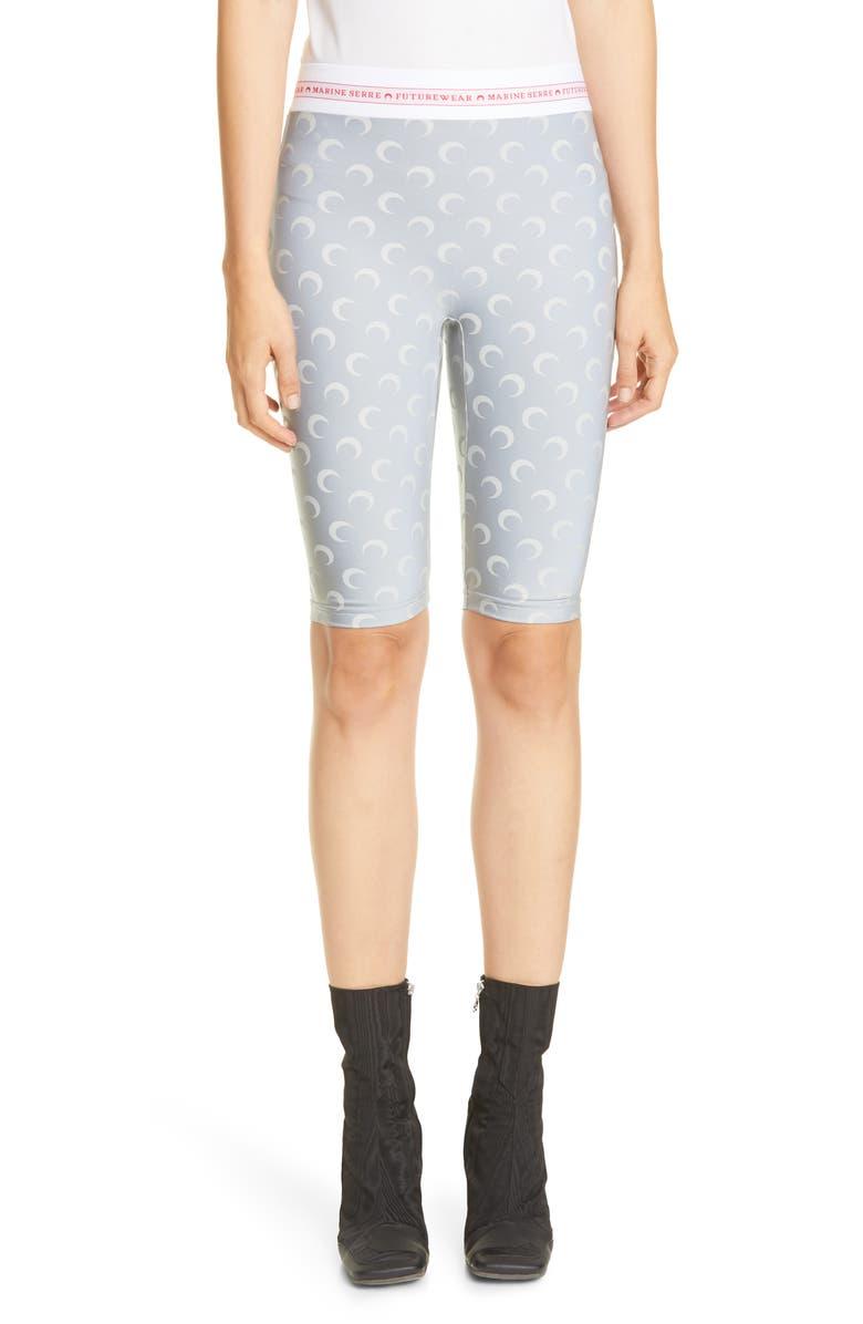 MARINE SERRE Moon Print Jersey Bike Shorts, Main, color, REFLECT / ALL OVER MOON GREY