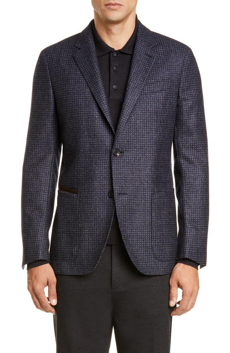 ERMENEGILDO ZEGNA Informale Classic Fit Check Wool Sport Coat, Main, color, NAVY