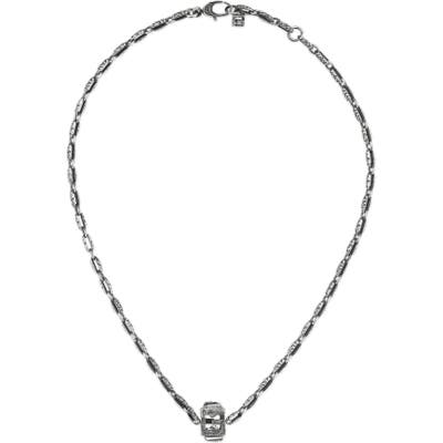 Sterling Silver G-Cube Necklace With Crystal