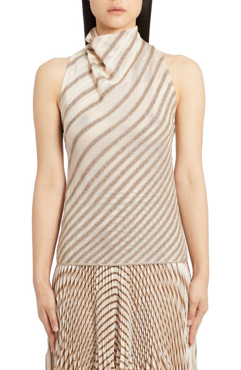 MISSONI Metallic Stripe Knit Top, Main, color, CREAM/ GOLD