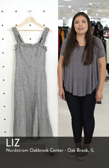Lavender Front Slit Linen Midi Dress, sales video thumbnail