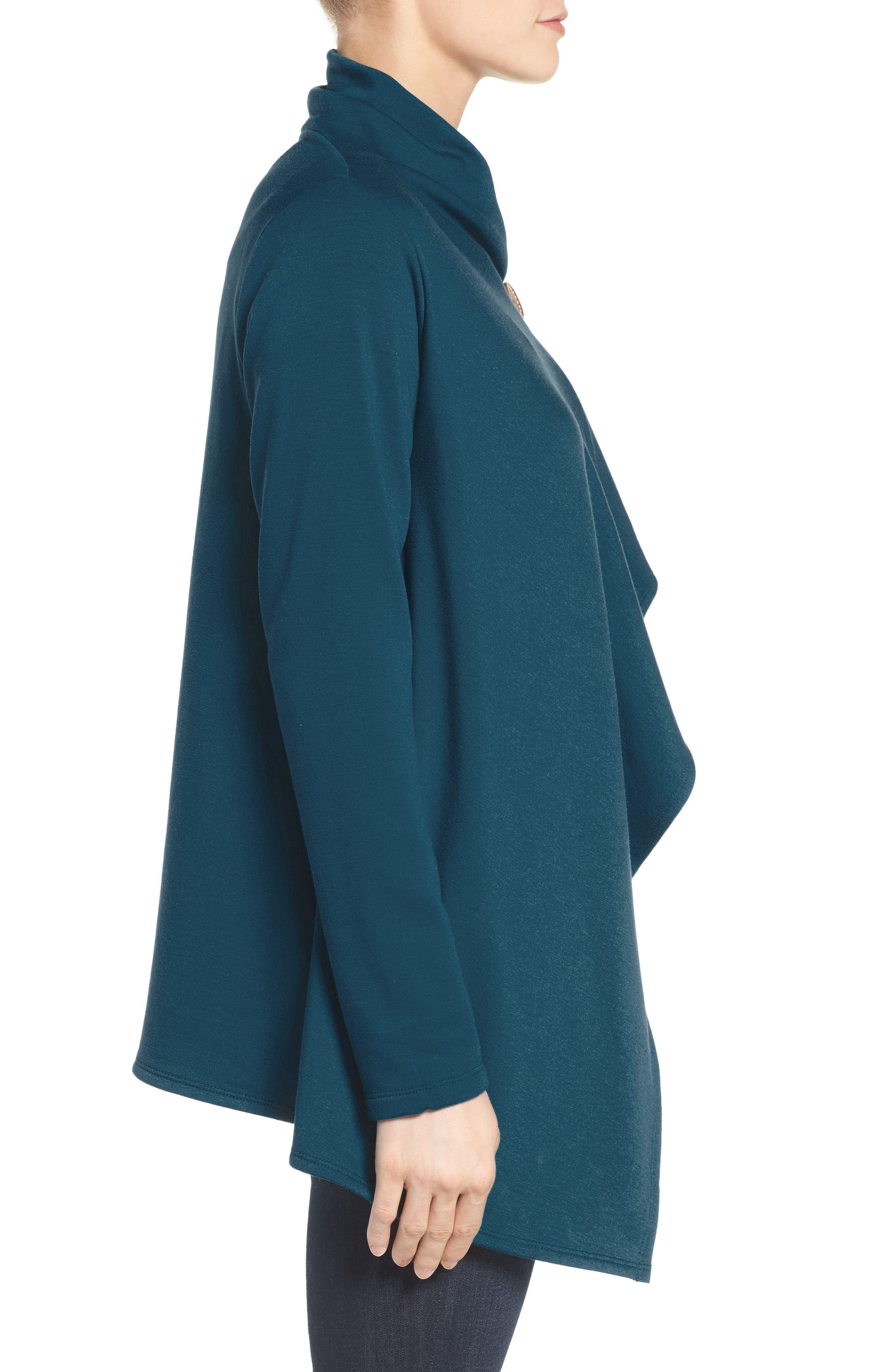,                             One-Button Fleece Wrap Cardigan,                             Alternate thumbnail 75, color,                             305