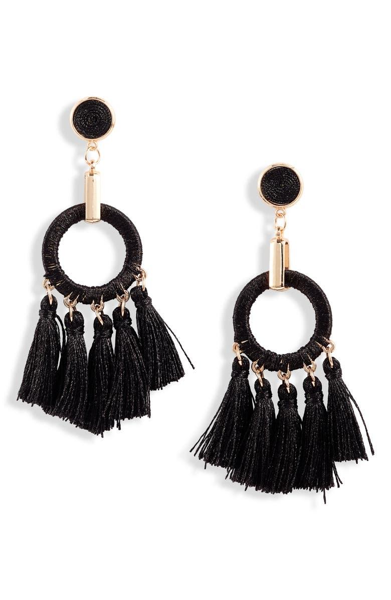 KNOTTY Multi Tassel Drop Earrings, Main, color, BLACK